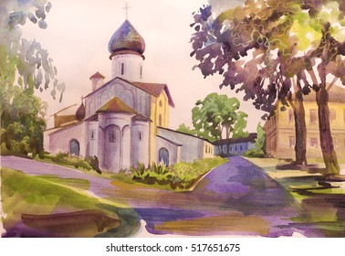 Old Ascension Church (Orthodox) in Pskov, Russia. White religious building in an old city street with houses and trees. Hand-drawn watercolor picture of ancient Russian city for posters and postcards.
