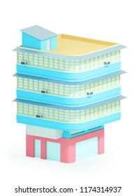 Old asian apartment building in hong kong. 3d illustration