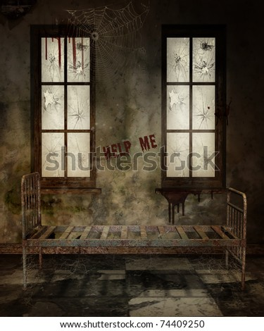 Old asylum room with a rusty bed