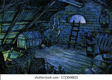 Old attic. Atmospheric digital sketch. Dark gloomy attic with lots of old objects, trash and shadows.  A wooden ladder is attached to the window on the roof.