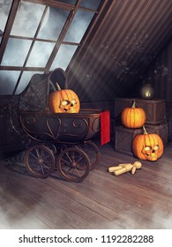 Old attic with a baby pram, voodoo doll, Halloween pumpkins and candles. 3D illustration.