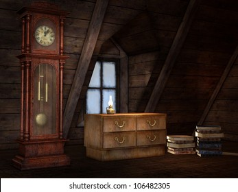 Old attic with a clock and books