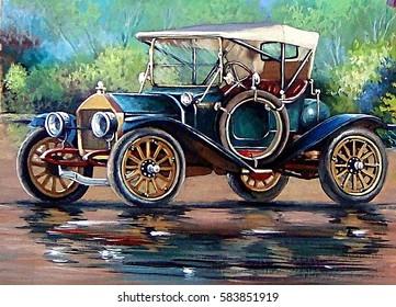 Old auto,retro car, oil paintings