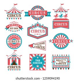 Old badges and labels for carnival and circus show invitation. Monochrome logos