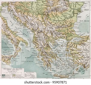 Old Balcan peninsula physical map. By Paul Vidal de Lablache, Atlas Classique, Librerie Colin, Paris, 1894 (first edition)