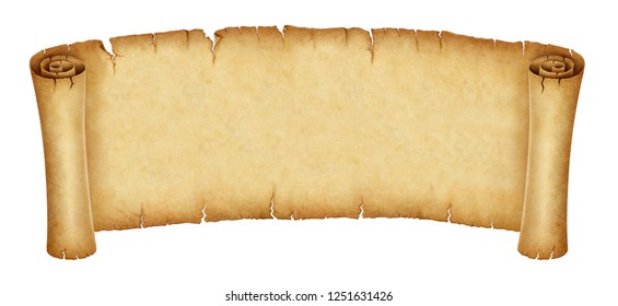 Old banner, papyrus scroll isolated on white background. illustration, digital painting