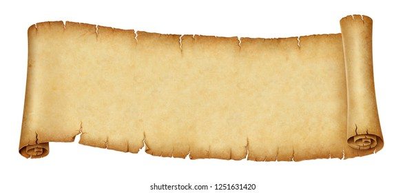 Old banner scroll isolated on white background. illustration, digital painting