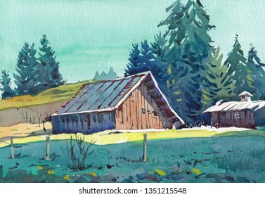 old barn cottage watercolor painting