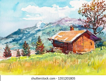 old barn countryside watercolor painting