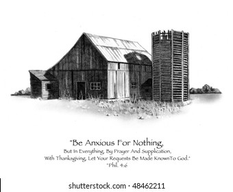 Old Barn in Pencil, with Bible Verse