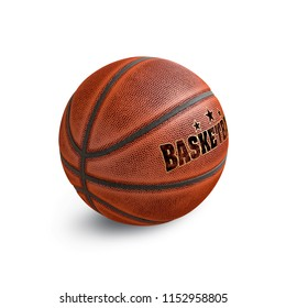 Old basketball isolated on white. 3D illustration.