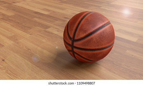 Old basketball on the hardwood floor in the hall. 3D illustration.