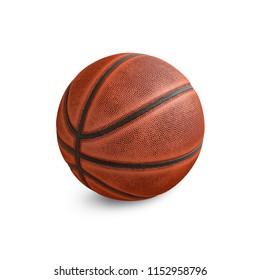 Old basketball on the white background. 3D illustration.