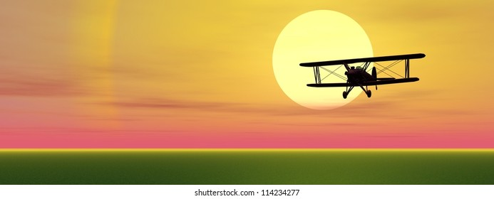 Old biplan flying upon grassland by sunset