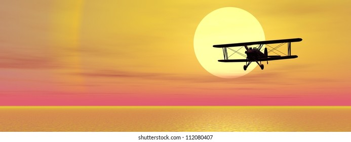 Old biplan flying upon ocean by sunset