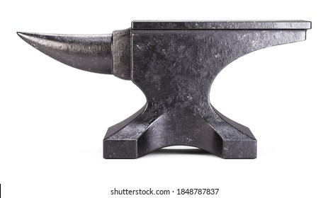 Old black anvil isolated on white background 3d