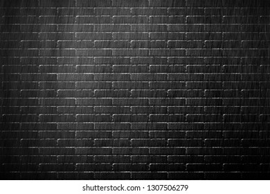 Old black brick wall background texture close up - illustration