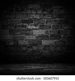 Old black wall background. Texture with border black vignette background Studio backdrop - well use as back drop background, black board, black studio background, black gradient frame.