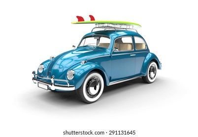 Old blue car with surfboard isolated on a white background