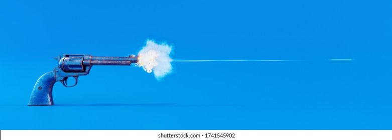 Old blue handgun firing a bullet on blue background 3D Rendering, 3D Illustration