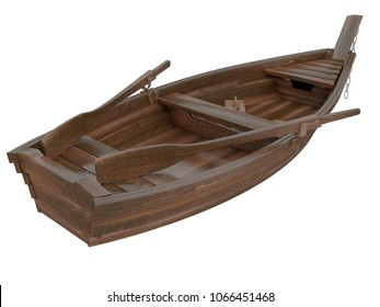 old boat or canoe made of wood with oars and a chain in front side view isolated on a white background 3d rendering