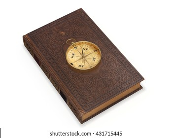 Old book with compass 3d rendering