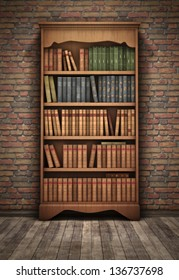 Old bookshelf in room background