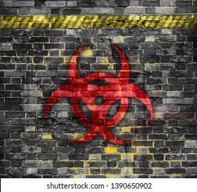 Old brick wall with biohazard symbol painted on it. 3D rendering or Illustration . Background or backdrop.