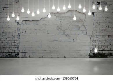 old brick wall and bulbs
