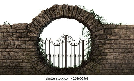Old brick wall with iron gate separated on white background