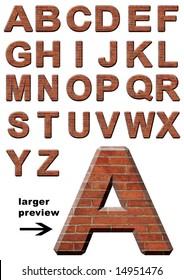 Old Bricks Alphabet, Isolated on White