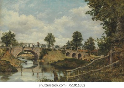 AN OLD BRIDGE AT HENDON, MIDDLESEX, by Frederick Waters Watts, 1828, British painting, oil on canvas. Watts likely exhibited this work at the Royal Academy in 1828. It is a highly detailed picturesque