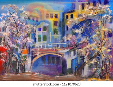 Old bridge in morning town, oil painting artwork