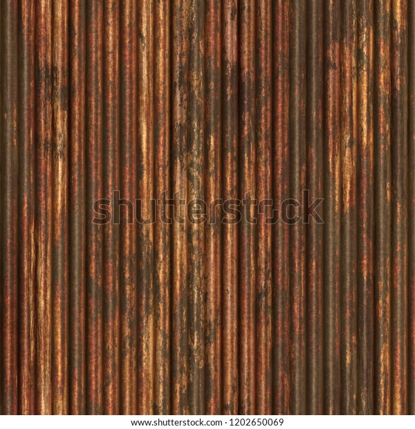 Old Bronze Surface Rusty Corrugated Metal Stock Illustration