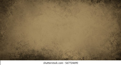 old brown stained background with grunge textured borders and elegant rustic vintage style design with light tan center and umber black and gray edges