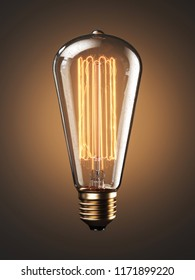 Old bulb lamp filament on light background. 3d render