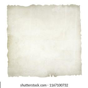 Old, burnt paper isolated on white background illustration