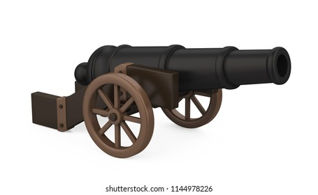Old Cannon Isolated. 3D rendering