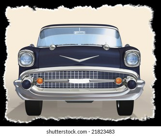 Old car 3d concept illustraion