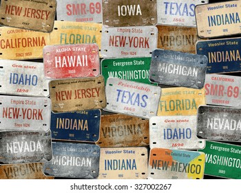Old car plates. Collage. License plates