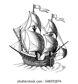 Old caravel, vintage sailboat. Hand drawn sketch. Detail of  old geographical maps