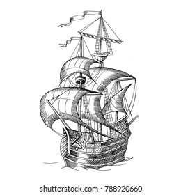 Old caravel, vintage sailboat. Hand drawn sketch. Detail of the ancient geographical maps of sea