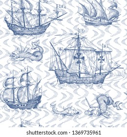Old caravel, vintage sailboat, sea monster. Monochrome Hand drawn sketch. Seamless pattern for boy. Detail of the old geographical maps of sea.
