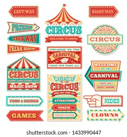 Old carnival circus banners and carnival labels set. Circus festival, arrow banner to entertainment illustration