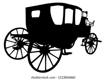 Old carriage with horses on a white background
