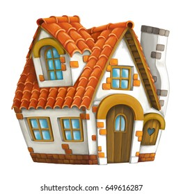 Old cartoon house - isolated - illustration for children