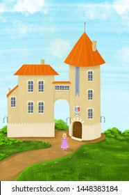 Old castle with tower and red roof. Background. Illustration.