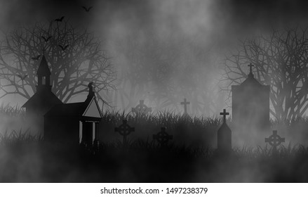 Old cemetery in the dark of horror night with many tombstones, old church, and mausoleums on graveyard covered by fog.