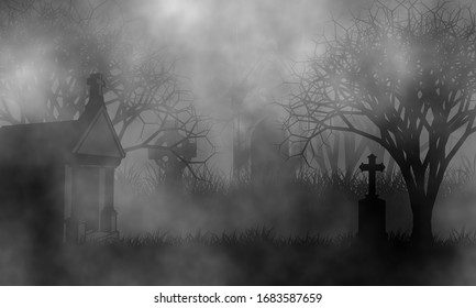 Old cemetery in the fog with vintage mausoleums, high crosses, and creepy spooky trees on grassfield.