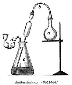 "Old Chemical Laboratory Equipment illustration engraving, from book ""Vereinigte Fabriken fur Laboratoriumsbedarf"", 1905, Berlin"